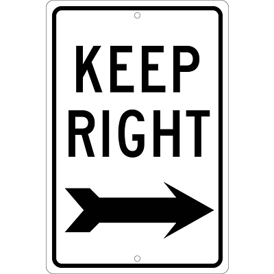 Directional Signs; Keep Right (With Arrow), 18X12, .063 Aluminum