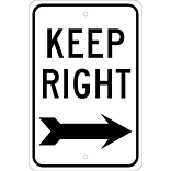 Directional Signs; Keep Right (With Arrow), 18X12, .080 Egp Ref Aluminum