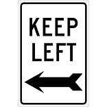 Directional Signs; Keep Left (With Arrow), 18X12, .040 Aluminum