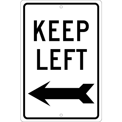 Directional Signs; Keep Left (With Arrow), 18X12, .063 Aluminum
