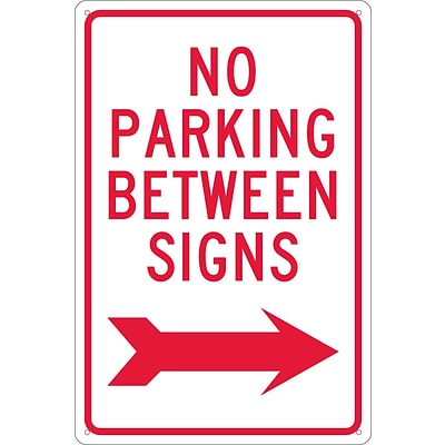 Parking Signs; No Parking Between Signs (W/ Right Arrow), 18X12, .040 Aluminum