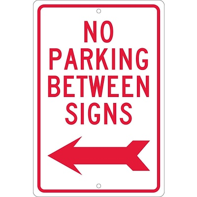Parking Signs; No Parking Between Signs (W/ Left Arrow), 18X12, .063 Aluminum