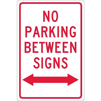 Parking Signs; No Parking Between Signs (W/ Double Arrow), 18X12, .040 Aluminum
