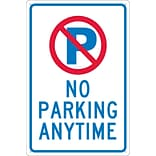 Parking Signs; P With Slash No Parking Anytime, 18X12, .040 Aluminum