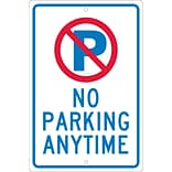 Parking Signs; P With Slash No Parking Anytime, 18X12, .063 Aluminum