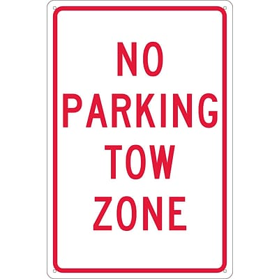 Parking Signs; No Parking Tow Zone, 18X12, .040 Aluminum
