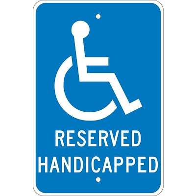 Parking Signs; Graphic, Reserved Handicapped, 18X12, .080 Egp Ref Aluminum