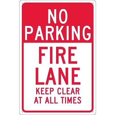 Parking Signs; No Parking Fire Lane Keep Clear At All Times, 18X12, .040 Aluminum