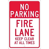 Parking Signs; No Parking Fire Lane Keep Clear At All Times, 18X12, .063 Aluminum