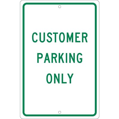 Parking Signs; Customer Parking Only, 18X12, .063 Aluminum