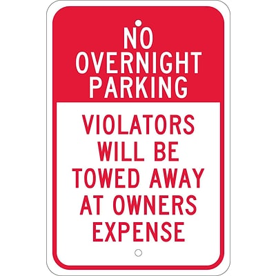 Parking Signs; No Overnight Parking Violators Will Be Towed Away At..., 18X12, .080 Egp Ref Aluminum