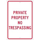 Traffic Warning Signs; Private Property No Trespassing, 18X12, .063 Aluminum