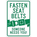 Traffic Warning Signs; Fasten Seat Belts (Graphic) Someone Needs You, 18X12, .080 Hip Ref Aluminum