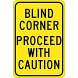 Blind Corner Proceed With Caution, 18X12, .080 Egp Ref Aluminum