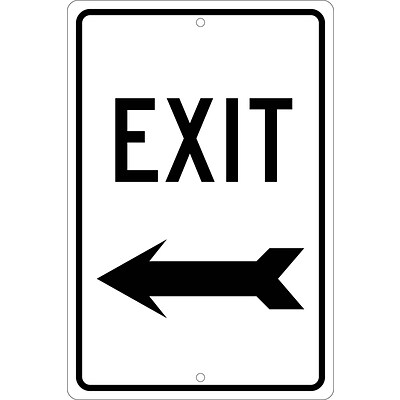 Directional Signs; Exit (Left Arrow), 18X12, .080 Hip Ref Aluminum