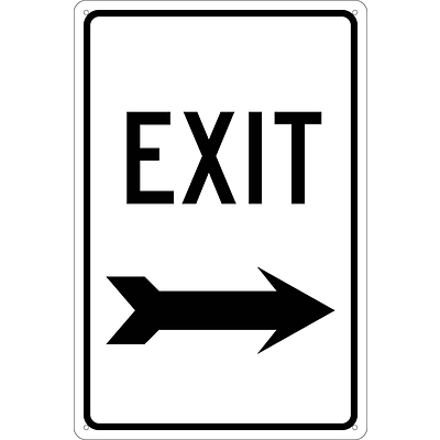 Directional Signs; Exit (With Right Arrow), 18X12, .040 Aluminum
