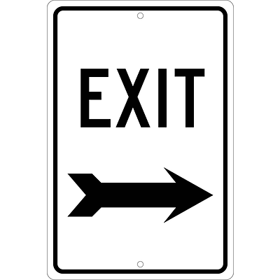 Directional Signs; Exit (Right Arrow), 18X12, .080 Hip Ref Aluminum