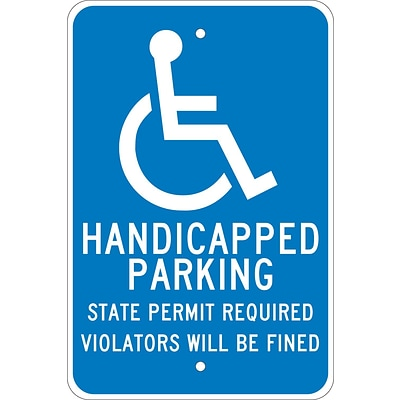 Parking Signs; Handicapped Parkiing State Permit Required.., 18X12, .080 Egp Ref Aluminum