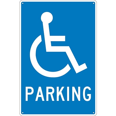 Parking Signs; Parking (W/ Handicapped Symbol), 18X12, .040 Aluminum