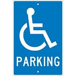 Parking Signs; Parking (W/ Handicapped Symbol), 18X12, .063 Aluminum