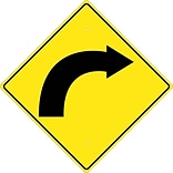 Directional Signs; (Graphic Of Right Curved Arrow) 24X24 , .080 Hip Ref Aluminum