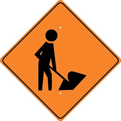 Information Signs; (Graphic Of Man W/ Shovel), 24X24, .080 Hip Ref Aluminum