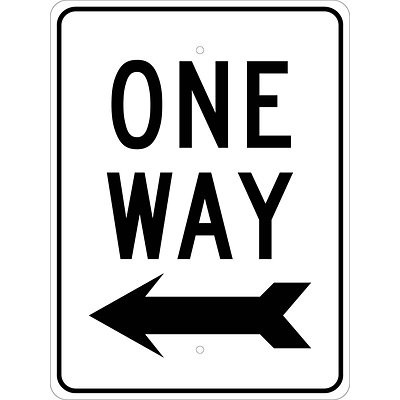 Directional Signs; One Way (Left Arrow), 24X18, .080 Hip Ref Aluminum