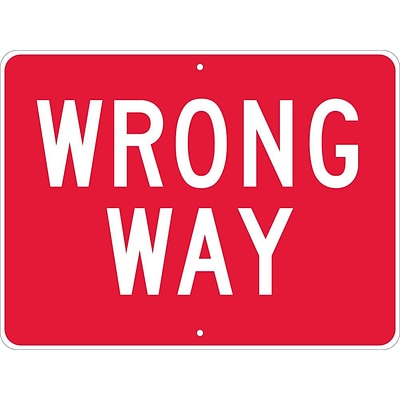 Directional Signs; Wrong Way, 24X18, .080 Hip Ref Aluminum