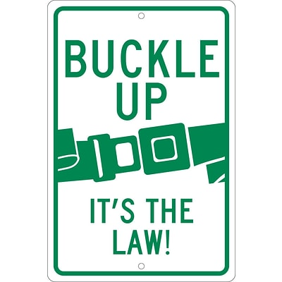 Traffic Warning Signs; Buckle Up ItS The Law, 18X12, .063 Aluminum