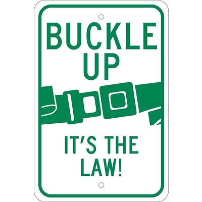 Traffic Warning Signs; Buckle Up ItS The Law, 18X12, .080 Reflective Aluminum