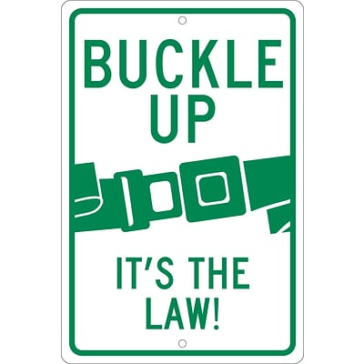 Traffic Warning Signs; Buckle Up (Graphic) ItS The Law!, 18X12, .080 Hip Ref Aluminum