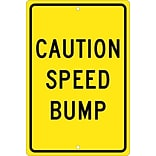 Caution Speed Bump, 18X12, .063 Aluminum