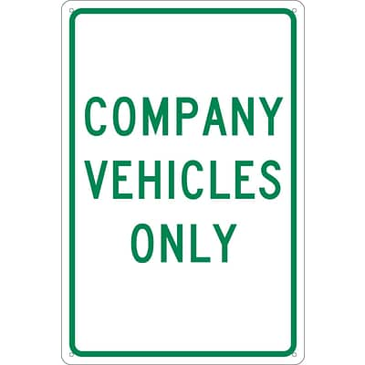 Parking Signs; Company Vehicles Only, 18X12, .040 Aluminum