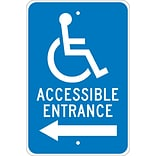 Directional Signs; Graphic, Accessible Entrance (Left Arrow), 18X12, .080 Egp Ref Aluminum
