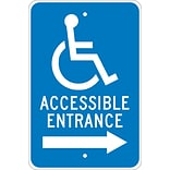 Directional Signs; Graphic, Accessible Entrance (Right Arrow), 18X12, .080 Egp Ref Aluminum