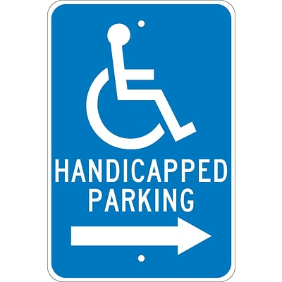 Parking Signs; Graphic, Handicapped Parking (Right Arrow), 18X12, .080 Egp Ref Aluminum