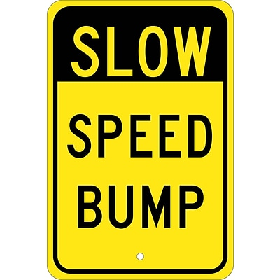 Traffic Warning Signs; Slow Speed Bump, 18X12, .080 Egp Ref Aluminum
