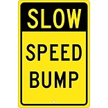 Traffic Warning Signs; Slow Speed Bump, 18X12, .080 Hip Ref Aluminum