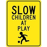 Traffic Warning Signs; Slow Children At Play (Graphic) 24X18, .080 Egp Ref Aluminum