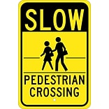 Traffic Warning Signs; Slow (Graphic) Pedestrian Crossing 18X12, .080 Egp Ref Aluminum