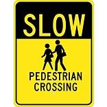 Traffic Warning Signs; Slow (Graphic) Pedestrian Crossing 24X18, .080 Egp Ref Aluminum