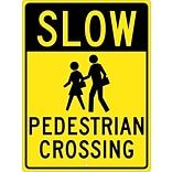 Traffic Warning Signs; Slow (Graphic) Pedestrian Crossing 24X18, .080 Hip Ref Aluminum