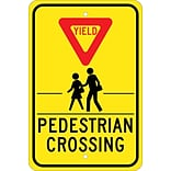 Traffic Warning Signs; Yield (Graphic) Pedestrian Crosswalk, 18X12, .080 Hip Ref Aluminum