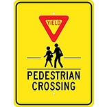 Traffic Warning Signs; Yield (Graphic) Pedestrian Crosswalk, 24X18, .080 Egp Ref Aluminum