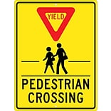 Traffic Warning Signs; Yield (Graphic) Pedestrian Crosswalk, 24X18, .080 Hip Ref Aluminum