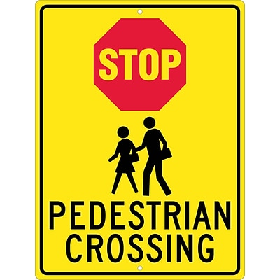 Stop Signs; Stop (Graphic) Pedistrian Crossing, 24X18, .080 Hip Ref Aluminum