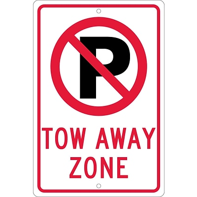 Parking Signs; Graphic(No Parking Symbol) Tow Away Zone, 18X12, .080 Hip Ref Aluminum