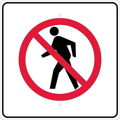 Traffic Warning Signs; Graphic, No Pedestrian Crossing Symbol, 24X24, .080 Egp Ref Aluminum