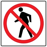 Traffic Warning Signs; Graphic, No Pedestrian Crossing Symbol, 24X24, .080 Hip Ref Aluminum