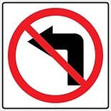 Directional Signs; Graphic, No Left Turn Arrow Symbol 24X24, .080 Hip Ref Aluminum